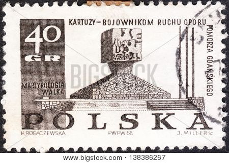MOSCOW RUSSIA - JANUARY 2016: a post stamp printed in POLAND shows Guerillas' Monument Kartuzy the series