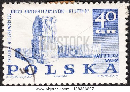 MOSCOW RUSSIA - JANUARY 2016: a post stamp printed in POLAND shows Stutthof memorial the series