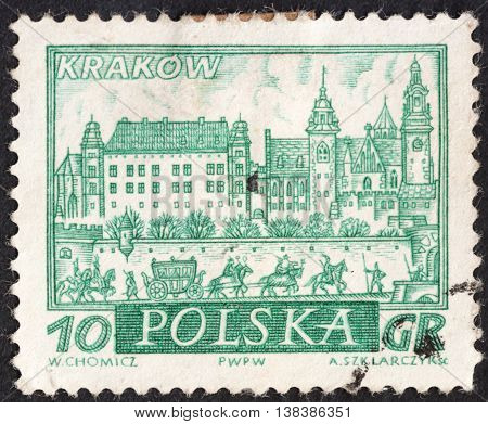 MOSCOW RUSSIA - CIRCA JANUARY 2016: a post stamp printed in POLAND shows a view of Cracow town the series