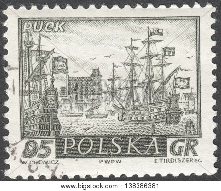 MOSCOW RUSSIA - CIRCA JANUARY 2016: a post stamp printed in POLAND shows a view of Puck town the series