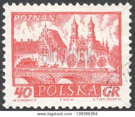 MOSCOW RUSSIA - CIRCA JANUARY 2016: a post stamp printed in POLAND shows a view of Poznan town the series