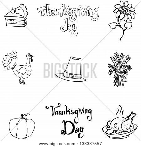 Thanksgiving element in doodle flat with hand draw