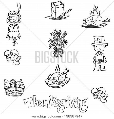 Thanksgiving in dooodle food party vector illustration