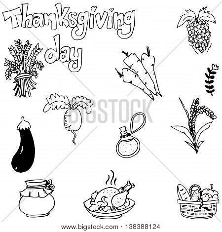 Doodle of vegetable thanksgiving with hand draw