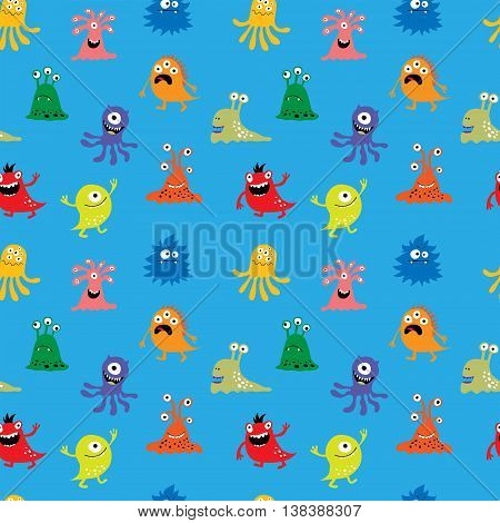 The seamless pattern with a funny monsters
