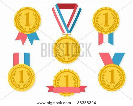 Golden medals with ribbons, first place award, flat design, vector eps10 illustration