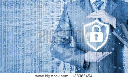 Data protection and insurance. Concept of business security, safety of information from virus, crime and attack. Internet secure system. Matrix background.