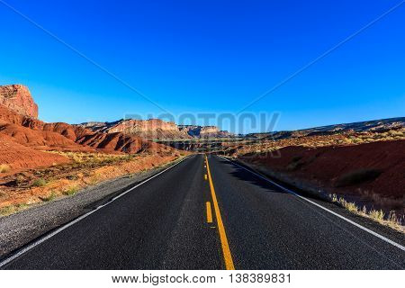 Deserted highway through the desert in Capitol Reef National Park