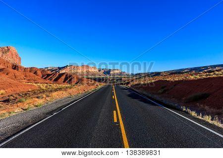 Deserted highway through the desert in Capitol Reef National Park