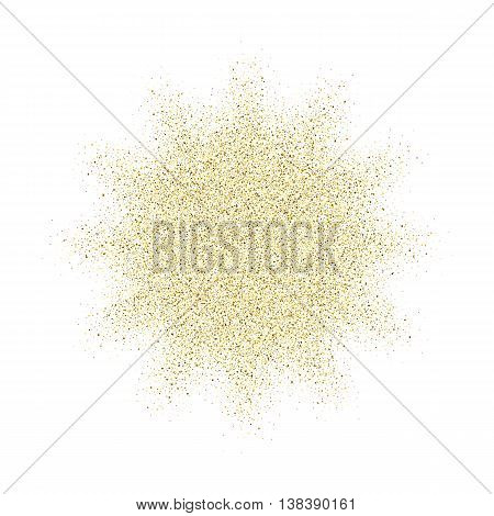 Golden glitter vector texture splash on white background. Gold glitter background. Gold background for card, vip, exclusive, certificate, gift, luxury, privilege, voucher, store, present, shopping.