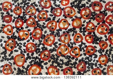 Background of Rice,Black beans and Chili peppers
