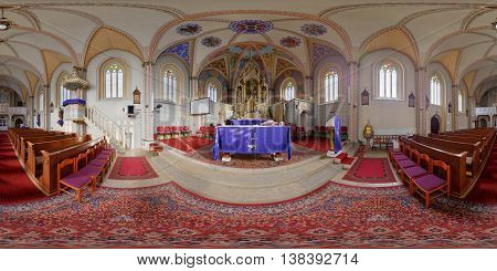 CLUJ-NAPOCA, ROMANIA - December 13: 360 panorama of the interior (altar) of Saint Peters' Church on December 13th, 2015, in Cluj-Napoca, Transylvania, Romania.