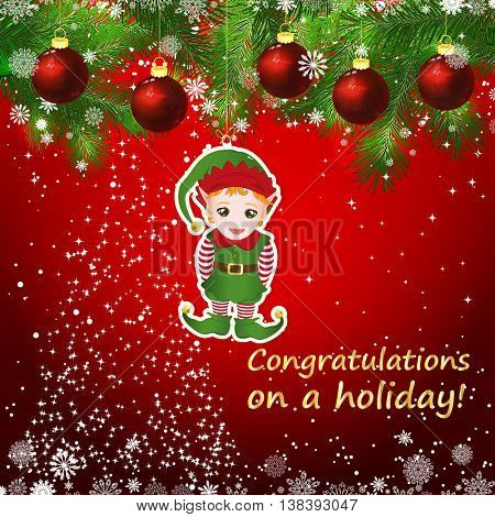 Vector New Year design background. Template card whit red Christmas balls on the green branches . Silhouette of a Christmas tree made of stars. Falling snow. Toy decorative elf.