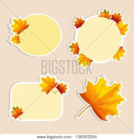 Set of isolated stickers with autumn leaves. Vector illustration. Cartoon style. For business presentation.