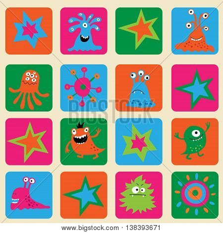 Seamless Pattern With Colorful Monsters And Stars