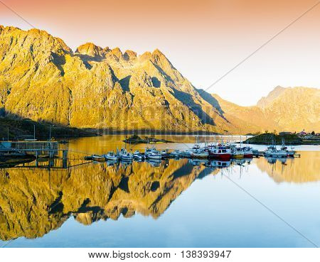 Horizontal Vivid Orange Sunset In Norway Fjords Reflection Lands
