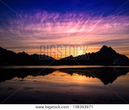 Horizontal Vivid Vibrant Norway Fjord Ocean Mountain Landscape B