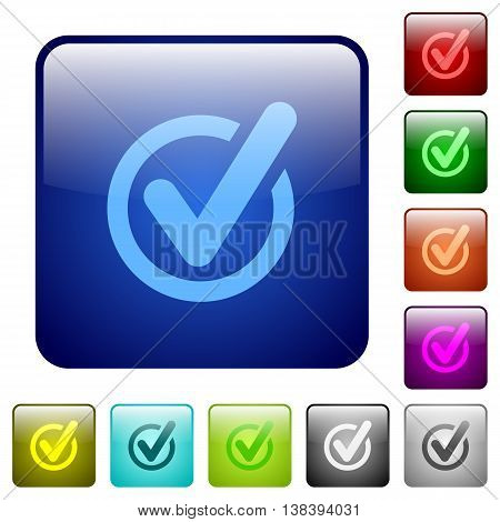 Set of checked data color glass rounded square buttons