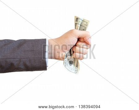 Businessman grasping and giving money in white isolated background (with clipping path).