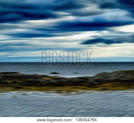 Horizontal Vivid Nordic Wind Landscape Ocean Horizon Abstraction