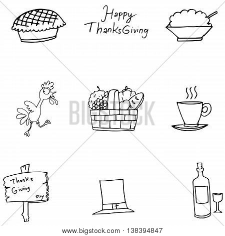 Doodle of Thanksgiving turkey fruit vector art