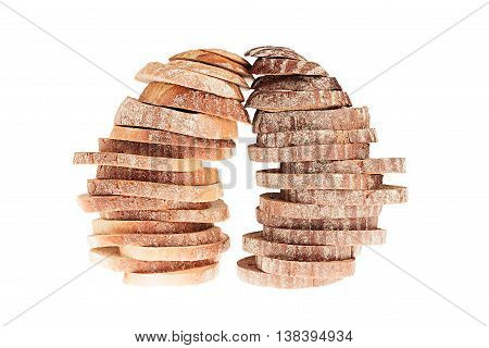 Two pile of slices of black rye bread and white bread with a crispy crust on a white background. Isolated. Concept art. Food background.