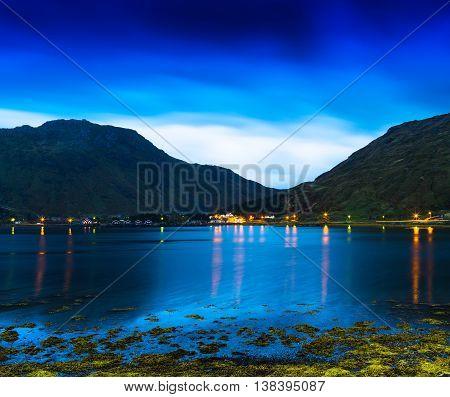 Horizontal Vivid Norway Fjords Ocean Landcape Cloudscape Long Ex