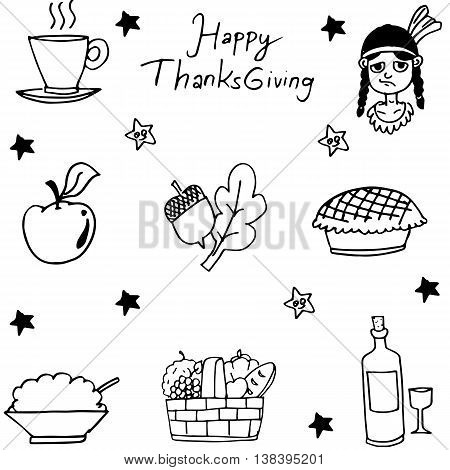 Thanksgiving flat hand draw in doodle illustration