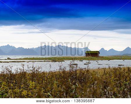 Horizontal Vivid Norway Cabin Fjord Landscape Background Backdro