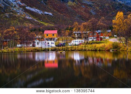 Horzontal Vivid Autumn Norway Camping Reflection Background Back