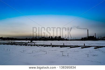 Horizontal Dark Winter Industrial Finland District Background Ba