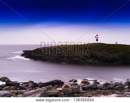 Horizontal Vivid Norway Lighthouse Ocean Bay Landscape Backgroun