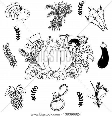 Vegetable in doodle art Thanksgiving vector art