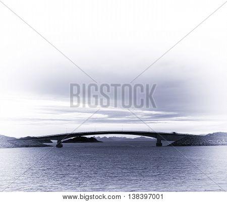 Square Soft Bllue Sepia Norway Brige Sunset Horizon Ocean Landsc