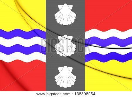 Flag Of Bedfordshire County, England. 3D Illustration.