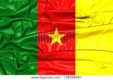 Flag of Cameroon. 3D Illustration. Close Up.