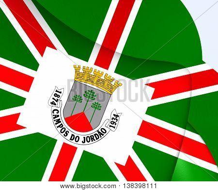 Flag Of Campos Do Jordao, Brazil. 3D Illustration.