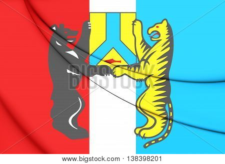 Flag of Khabarovsk Russia. 3D Illustration. Close Up.