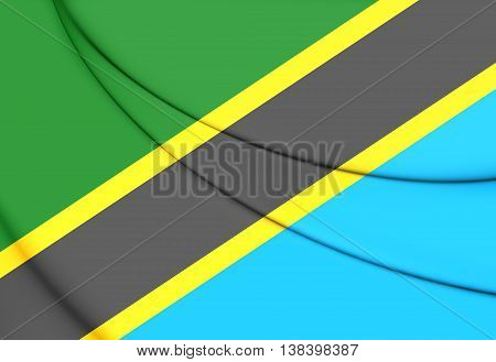 Flag of Tanzania. 3D Illustration. Close Up.