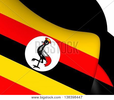 3D Flag of Uganda. 3D Illustration. Close Up.