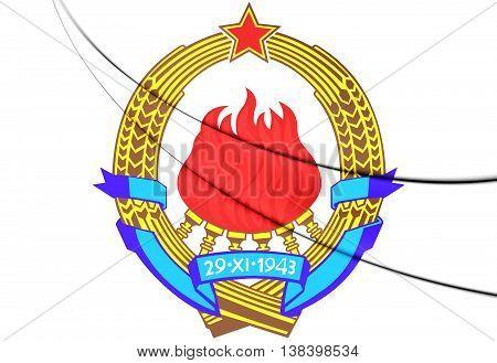 Yugoslavia Coat of Arms. 3D Illustration. Close Up.