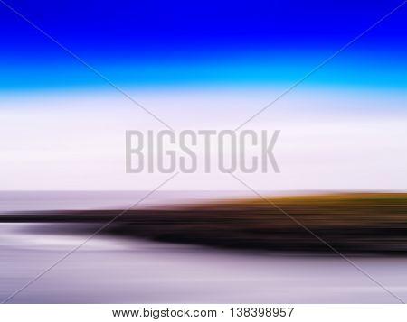 Horizontal Vivid Motion Blur Nordic Fjord Island Landscape Abstr