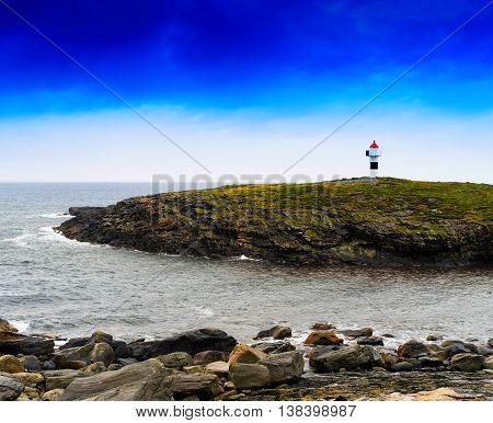 Horizontal Vivid Norway Right Aligned Lighthouse  On Island Land