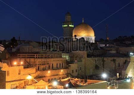 Top Of Mosque Of Al-aqsa In Jerusalem At Night
