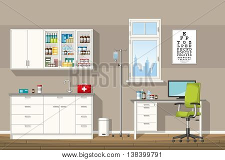 Illustration of a modern doctor office, vector