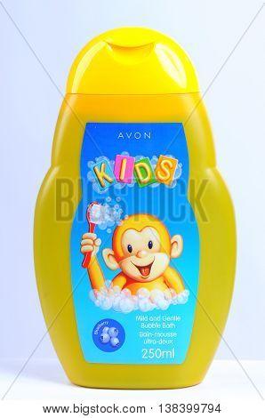 KIEV UKRAINE - November 05 2011. Illustrative editorial photo - Baby shampoo (foam for bath) AVON KIDS with the aroma of blueberries