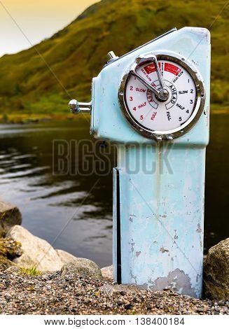 Vertical Vivid Vintage Ship Engine Control Background Backdrop