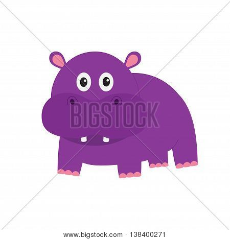 Hippopotamus. Cute cartoon charachter hippo with tooth. Violet behemoth river-horse icon. Baby animal collection. Education card for kids. Flat design. White background. Isolated. Vector illustration