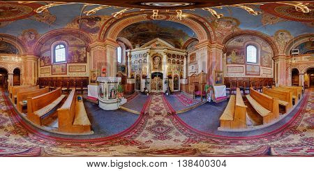 CLUJ-NAPOCA, ROMANIA - March 11: 360 panorama of the interior of the Greek-Catholic Bob Church on March 11th, 2016, in Cluj-Napoca, Transylvania, Romania.
