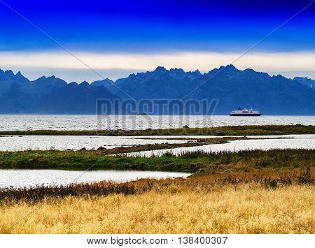 Horizontal Vivid Norway Fjord Mountains Ship Background Backdrop